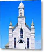 Old Weathered Church On Hill Top Metal Print
