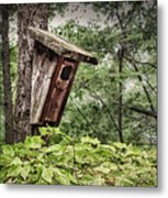 Old Weathered Worn Bird House In Summer Metal Print