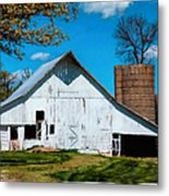 Old White Barn With Treed Silo Metal Print