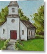 Old White Church In The Texas Hill Country Metal Print
