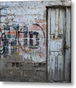 Old White Door In A Wall Metal Print