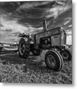 Old White Tractor In The Field Metal Print