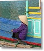 Old Woman On A Colorful River Boat Metal Print