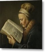 Old Woman Reading Metal Print