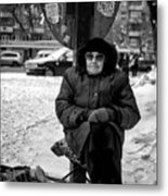 Old Women Selling Woollen Socks On The Street Monochrome Metal Print