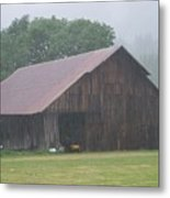 Old Wood Barn In The Mist Washington State Metal Print