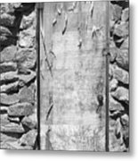 Old Wood Door  And Stone - Vertical Bw Metal Print