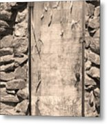 Old Wood Door  And Stone - Vertical Sepia Bw Metal Print