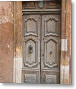 Old Wood Door - France Metal Print