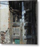 Old Wood Door In A Wall Metal Print