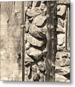 Old Wood Door Window And Stone In Sepia Black And White Metal Print