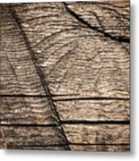Old Wooden Board With Notches By Sawing Metal Print