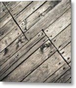 Old Wooden Boards Nailed Metal Print