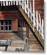 Old Wooden Cabin Log Detail Metal Print