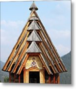 Old Wooden Church On Mountain Metal Print