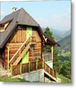 Old Wooden House On Mountain Landscape Metal Print