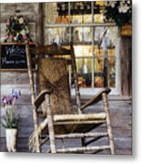 Old Wooden Rocking Chair On A Wooden Porch Metal Print by Jeremy Woodhouse