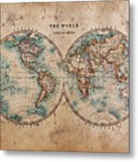 Old World Map In Hemispheres Metal Print by Richard Thomas