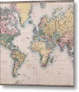 Old World Map On Mercators Projection Metal Print
