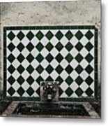 Old World Water Fountain Metal Print