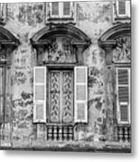 Old Yellow Building With Lace Curtain In Nice, France, Black And Metal Print