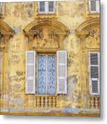 Old Yellow Building With Lace Curtain In Nice, France Metal Print