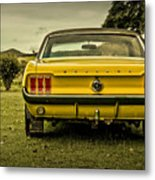 Old Yellow Mustang Rear View In Field Metal Print