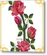 Olde Rose Pink With Leaves And Tendrils Metal Print