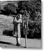 Older Woman Paying Parking Meter Metal Print