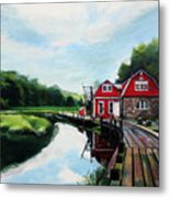 Ole's Boathouse In Riverside Connecticut Metal Print