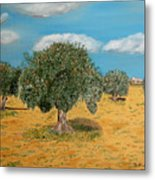 Olive Trees In Summer Metal Print