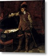 Oliver Cromwell Opening The Coffin Of Charles I  Metal Print