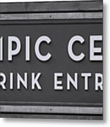 Olympic Center 1932 Rink Entrance - Monochrome Metal Print