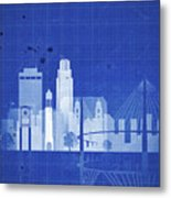 Omaha Blueprint Skyline Metal Print