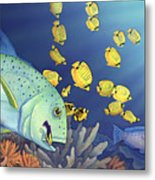 Omilu Bluefin Trevally Metal Print