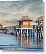 On A Cloudy Day At Naples Pier Metal Print