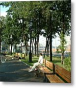 On A Moscow Bench Metal Print
