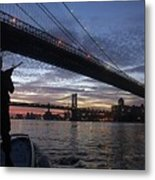 On Duty By Brooklyn Bridge New York Metal Print