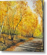 On Golden Road Metal Print