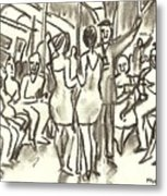 On The A, New York City Subway Drawing Metal Print