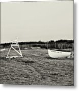On The Beach - Avalon New Jersey In Sepia Metal Print