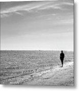 On The Beach - Malahide, Dublin - Black And White Street Photography Metal Print