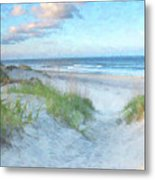 On The Beach Watercolor Metal Print