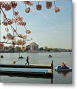 On The Cherry Blossom Dock Metal Print