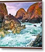 On The Coast Of Cornwall L B With Decorative Ornate Printed Frame. Metal Print