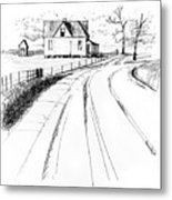 On The County Line Metal Print