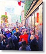 On The Day Before Christmas . Stockton Street San Francisco . Photo Artwork Metal Print