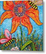 On The Flower Metal Print