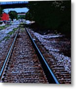 On The Railroad Tracks Metal Print