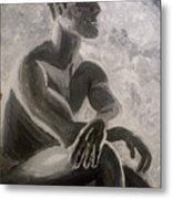 On the red chair Metal Print
